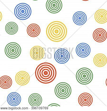 Color Target Sport For Shooting Competition Icon Isolated Seamless Pattern On White Background. Clea