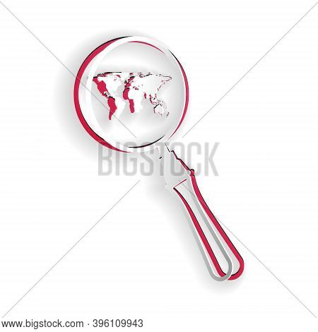 Paper Cut Magnifying Glass With World Map Icon Isolated On White Background. Analyzing The World. Gl