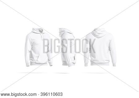 Blank White Hoodie With Hood Mockup, Side And Back View, 3d Rendering. Empty Sport Sweat-shirt For D