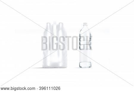 Blank Transparent Plastic Bottle With Pack Handle Mockup, Isolated, 3d Rendering. Empty Shrink Packa