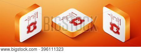 Isometric Street Signboard On Forged Brackets With Wooden Mug Of Beer Icon Isolated On Orange Backgr