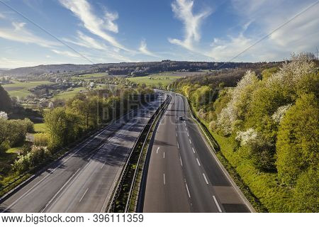 Autobahn Landscape In Germany In Summer With Clouds
