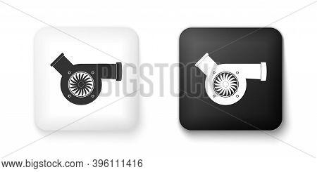 Black And White Automotive Turbocharger Icon Isolated On White Background. Vehicle Performance Turbo