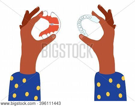 Female Hands Holding Dental Braces And Orthodontic Transparent Retainers And Choosing Between Them.