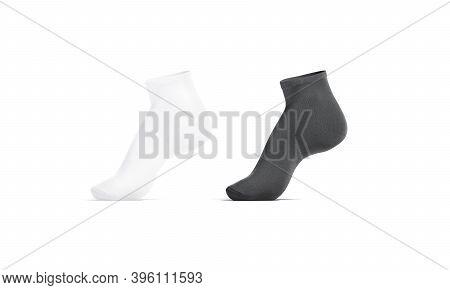 Blank Black And White Ancle Socks Mockup Tiptoe, Side View, 3d Rendering. Empty Elastic Low Cut Gait