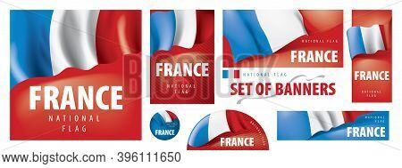 Vector Set Of Banners With The National Flag Of The France