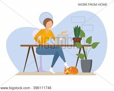 A Woman Working From Home. Stay At Home, A Woman Sits At A Desk And Works On A Laptop. Cozy Interior