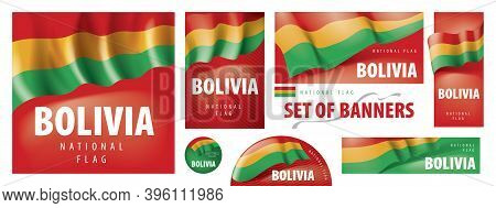 Vector Set Of Banners With The National Flag Of The Bolivia