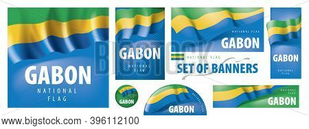 Vector Set Of Banners With The National Flag Of The Gabon