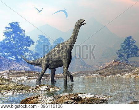 Atlasaurus Dinosaur Walking In A Landscape With Water By Day - 3d Render
