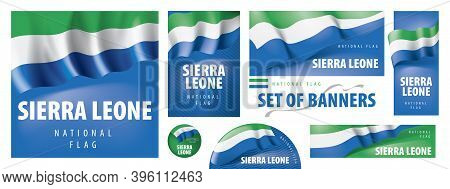 Vector Set Of Banners With The National Flag Of The Sierra Leone
