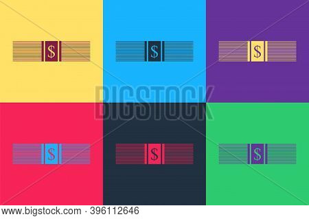 Pop Art Paper Money American Dollars Cash Icon Isolated On Color Background. Money Banknotes Stack W