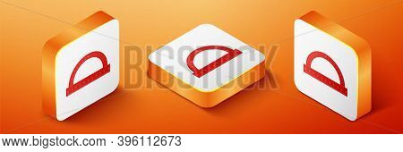 Isometric Protractor Grid For Measuring Degrees Icon Isolated On Orange Background. Tilt Angle Meter