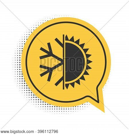 Black Hot And Cold Symbol. Sun And Snowflake Icon Isolated On White Background. Winter And Summer Sy