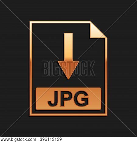 Gold Jpg File Document Icon. Download Jpg Button Icon Isolated On Black Background. Long Shadow Styl