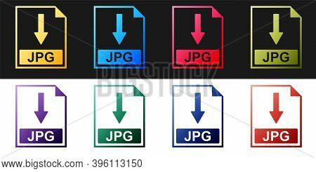 Set Jpg File Document Icon. Download Jpg Button Icon Isolated On Black And White Background. Vector
