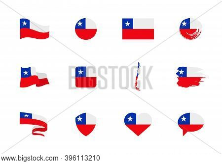 Chile Flag - Flat Collection. Flags Of Different Shaped Twelve Flat Icons.