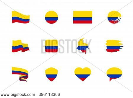 Colombia Flag - Flat Collection. Flags Of Different Shaped Twelve Flat Icons.