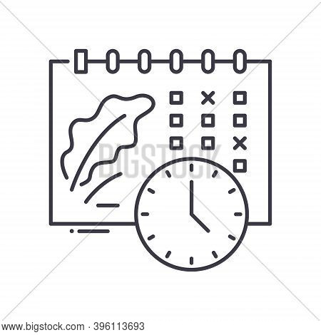 Events Shedule Icon, Linear Isolated Illustration, Thin Line Vector, Web Design Sign, Outline Concep