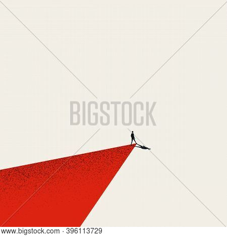 Business Leader Walks His Own Path Or Way Vector Illustration Concept. Symbol Of Motivation, Ambitio