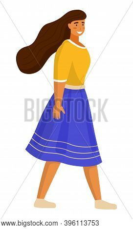 Beautiful Girl Walking In Summer Day Outdoor. Young Cheerful Woman Dressed In A Blue Skirt And A Yel