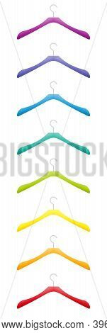 Colorful Clothes Hanger, Plastic Coathanger Set, Various Colors, Rainbow Gradient Colored Collection