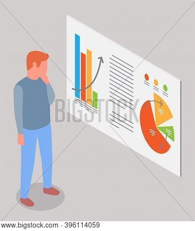 Man Estimates Demand Indicators On Presentation Board With Charts And Graphs, Marketing Concept. Bus