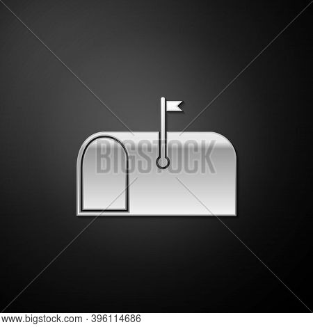 Silver Mail Box Icon Isolated On Black Background. Mailbox Icon. Mail Postbox On Pole With Flag. Lon