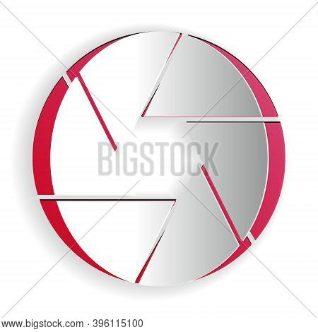 Paper Cut Camera Shutter Icon Isolated On White Background. Paper Art Style. Vector