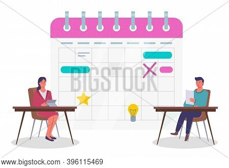Calendar Schedule Concept Web Infographics Vector Illustration. Business People And Big Schedule. Of