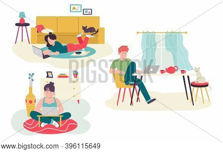 Set Of Freelance People Work In Comfortable Conditions Set. Freelancer  Remote Work At Relaxed Pace.