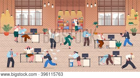 Office Deadline Concept. Idea Of Many Work And Few Time. Employee In A Hurry. Panic And Stress In Of