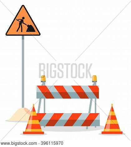 Road Repair Flat Vector Illustration. Under Construction Information Sign. Maintenance And Construct