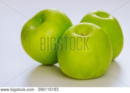 Green Apples Isolated On White Background. Produce Product.