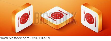 Isometric Plate With Clock, Fork And Knife Icon Isolated On Orange Background. Lunch Time. Eating, N
