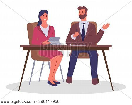 Business Meeting, Signing An Agreement. Businessman Chief Sitting At A Table With Pen In Hand Listen