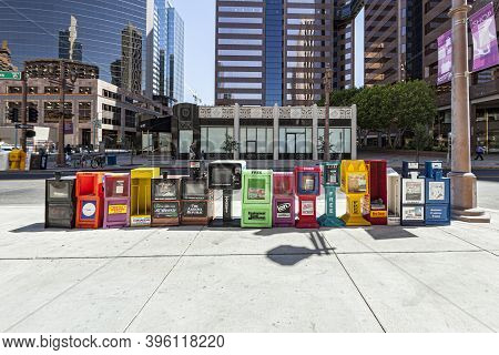 Phoenix, Usa - June 14, 2012: Newspaper Boxes With Free Newspaper For Everyone. These Papers  Are Fi