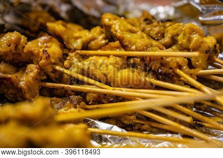 Close Pork Satay Skewer With Dried Bamboo In The Foy.this Thai Pork Satay Recipe Is Easy To Make And