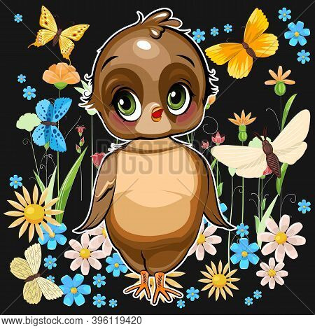 Sparrow Girl. Funny Chick. Cute And Funny Baby Bird.. Illustration. Cartoon Style. Vector