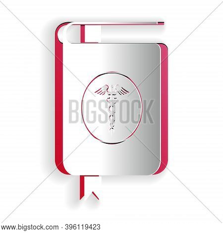 Paper Cut Medical Book And Caduceus Medical Icon Isolated On White Background. Medical Reference Boo