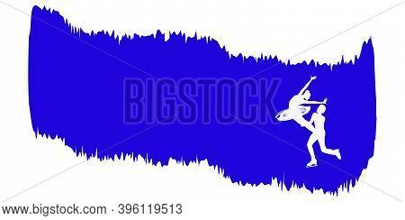 Horizontal Winter Banner, Skaters - Isolated On White Background - Vector. Original. Modern Design.
