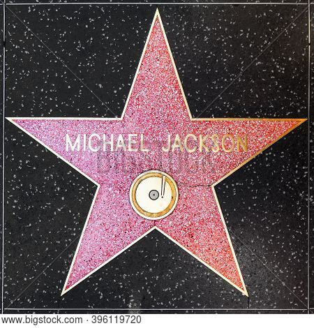 Los Angeles, Usa - June  26, 2012: Michael Jackson's Star On Hollywood Walk Of Fame  In Hollywood, C