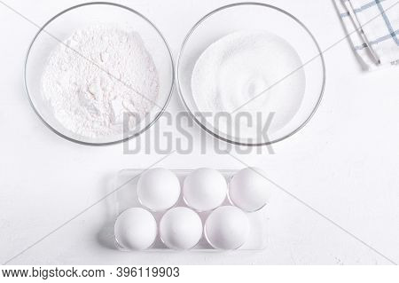 Step By Step Recipe Of Sponge Cake. Step 1. Ingredients To Make Sponge Cake. Eggs, Sugar And Flour O