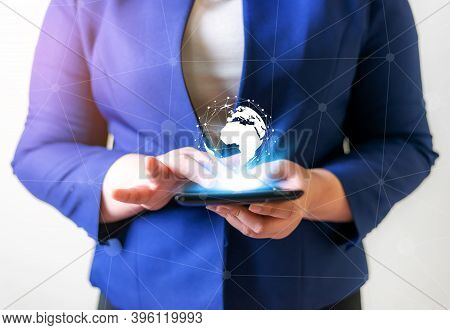 Technology People Global Connection Network Concept, Business Women With Laptop And Virtual Earth Bl