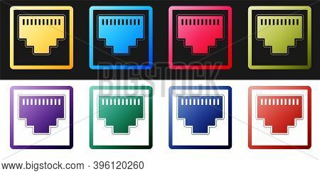 Set Network Port - Cable Socket Icon Isolated On Black And White Background. Lan Port Icon. Ethernet