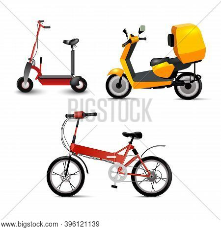 Realistic Youth City Transport Set On White Background. Bicycle, Gyroscooter And Bike. Modern Altern