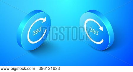 Isometric Angle 360 Degrees Icon Isolated On Blue Background. Rotation Of 360 Degrees. Geometry Math