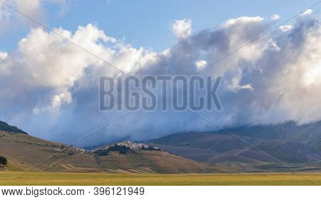 Castelluccio village in National Park Monte Sibillini, Umbria region, Italy