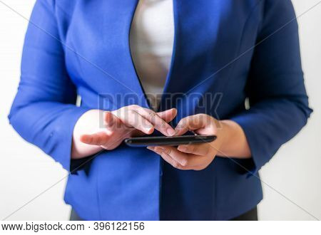 Business Women With Laptop On Blurred Background, Technology People Connection Network Concept