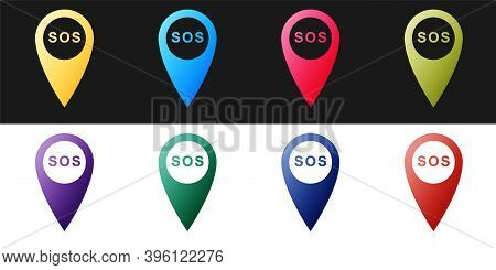 Set Marker Location With Sos Icon Isolated On Black And White Background. Sos Call Location Marker.
